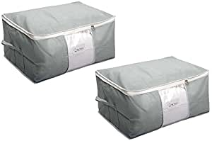 HomeStrap Mr Beans Non Woven Big Underbed Storage/Bag with Window - Grey - Set of 2