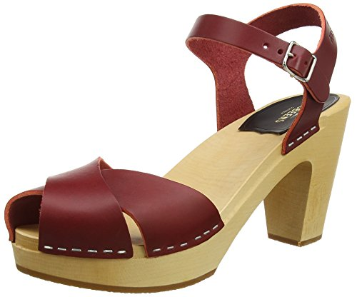 Swedish Hasbeens Merci - Sandales  Bout ouvert - Femme Rouge (Wine Red)