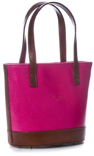 Big Handbag Shop, Borsa a mano donna One Rosa (Pink-Brown Trim)