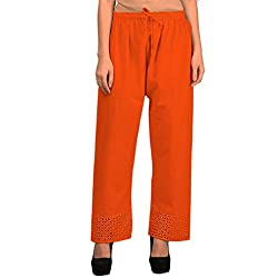 Vastraa Fusion Women Solid Orange Khadi Cotton Palazzo Bottom