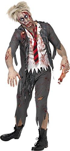 Smiffys, Herren Zombie-Schuljunge Kostüm, Jacke mit angesetztem Hemd, Schlips und Hose, Größe: S, 32928