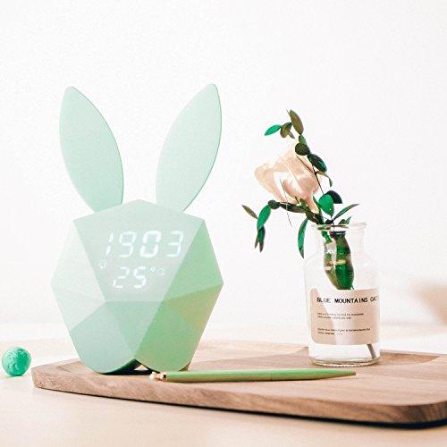Preisvergleich Produktbild Nachtlicht, Digital Wecker mit niedlichen Kaninchen Thermometer wiederaufladbare Tisch Wanduhren blau
