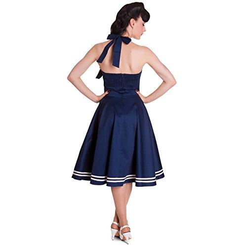 Robe Rockability Motley années 50 Hell Bunny Londres style matelot robe dos-nu bleu marine Bleu