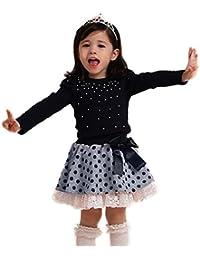 Ropa De La Muchacha Niños,RETUROM La Nueva Venta Caliente De Los BebÉS De La TÉCnica De La Princesa Ropa Perla Camiseta Tops, CordÓN Del Punto De La Falda Corta 1Ponga