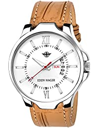 Eddy Hager Analogue Round White Dial Day & Date Men's Watch Eh-108-Br