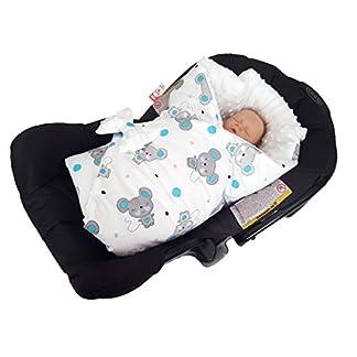 BlueberryShop Minky manta de forro polar para envolver al bebé en el coche| Saco de dormir para bebés recién nacidos | Para bebés de 0-3 meses | 78 x 78 cm | Azul Elefante