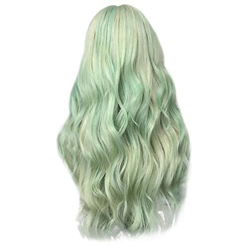 LMRYJQ Fashion GlamouröS Haarteil Wigs Art- Und Weisesynthetische Lange WellenföRmige GrüNe Farbe Lockiges Haar PerüCke NatüRliche HaarperüCken 25.5 inch / 65cm ()