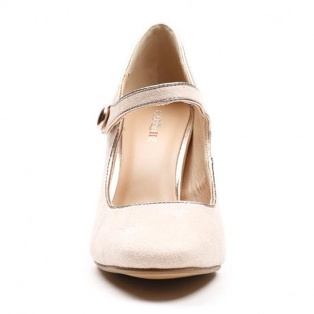 Ideal Shoes - Babies à talons effet daim Jeliana Beige