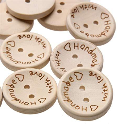LnLyin 100 STÜCKE Holzknöpfe Handmade mit Liebe Taste Runde Form Zarte Tasten zum Nähen Handwerk Dekorationen, Kleine (Handgemachte Etiketten)