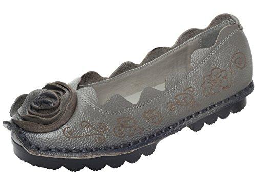 Vogstyle Femmes Chaussures Plates Cuir Mocassins à Fleurs Confort Style 8 Gris EU38.5-39=CH40