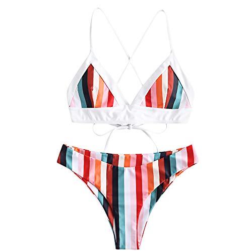 ZAFUL Damen Bunt Gestreift Spaghetti-Träger Cami Criss-Cross Bikini Set Badeanzug Multi-A M