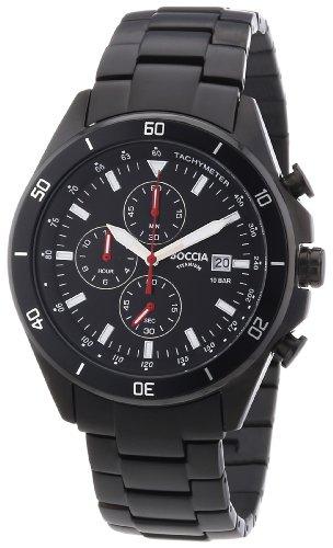 Boccia 3762-03 - Reloj cronógrafo de cuarzo para hombre con correa de titanio, color negro