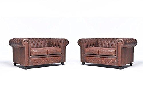 Original Chesterfield Sofas – 2 / 2 Sitzer – Vollständig Handgewaschenes Leder – Vintage Braun