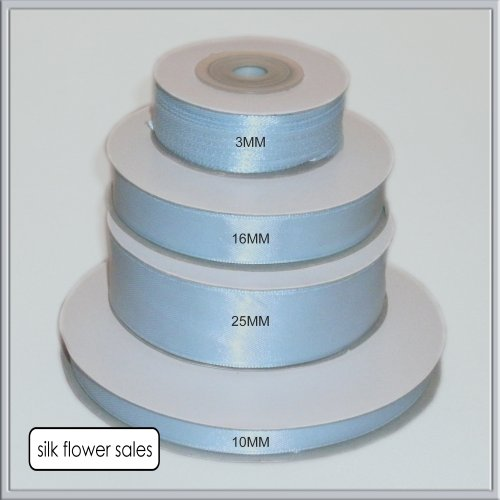 Satin Ribbon - 1 rotolo di nastro in raso, larghezza disponibile: 3 mm, 10 mm, 15 mm, 25 mm, colore: celeste, blu, 3 mm x 50 m