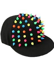 Autek cap Bonbons fluorescent rivets de couleur le long de la casquette plate hip-hop hip-hop casquette de baseball (579-1)