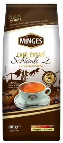 Minges Café Crème Schümli 2, ganze Bohne, Aroma-Softpack, 1.000 g, 1er Pack (1 x 1 kg)