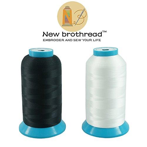 New brothread 2er Set (Schwarz+Weiß) 5000M (5500Y) Stickerei Spulen Gewinde Polyester Maschinen Stickgarn Unterfaden für Stickmaschine und Nähmaschine (Maschine Sticken)