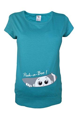 Colour Fashion T-shirt grossesse en coton Blanc/noir/bleu ciel/bleu canard/vert Taille S-XXL Bleu - Bleu-vert