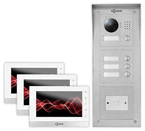 Goliath IP Videotürsprechanlage 3 Familienhaus, Aufputz RFID Türstation, HD Kamera, App, Türöffner Funktion, Schlüsselloser Zugang, Video-Speicher, Set, AV-VTC69