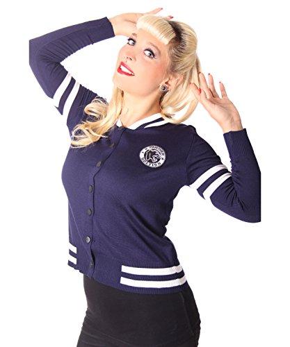 SugarShock Tessy Damen Baseball Cardigan Rockabilly Weste, Farbe:Navyblau, Größe:L/XL (42-44)