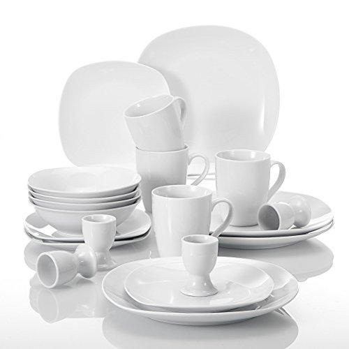 Malacasa Série Elisa 20pcs Service de Table Vaisselle Porcelaine 4pcs - Assiette Plate, Assiette à Dessert, Assiettes à Soupe, Coquetier, Mug pour 4 Personnes