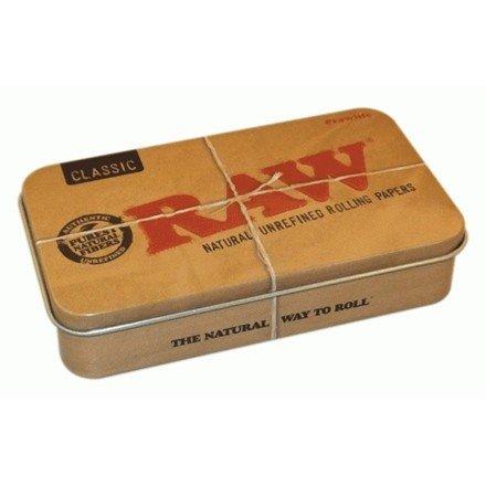 RAW Set per fumatori, composto da 4 pezzi: 2 confezioni di cartine sottili Connoisseur Classic KS con filtri - grande scatola in latta, cono Caddy - spago da 4 m