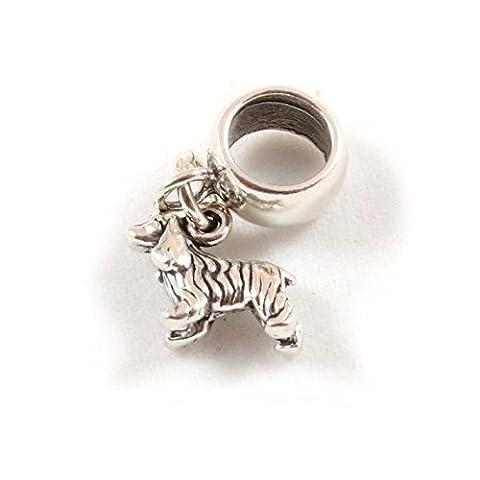 Sterling Silver Cocker Spaniel Dog Dangle Bead /Charm To Fit European Style Charm Bracelets