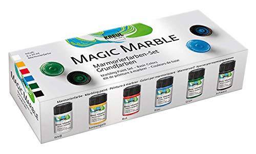 Kreul 73600 - Magic Marble Marmorierfarbe Set Grundfarben, zum Tauchmarmorieren von Holz, Glas, Kunststoff, Papier, Metall und Styropor, 6 x 20 ml Farbe in weiß, gelb, rot, blau, grün und schwarz