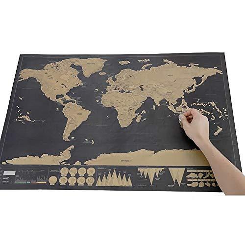 Wisdom world edition black scratch map piccolo programma di viaggio divertente regalo creativo disegno da viaggio portatile, come mostrato, 42 * 30cm