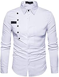 BUSIM Men's Long Sleeve Shirt Autumn Casual Official Slim Cotton Lapel Solid Color Personality Fashion T-Shirt...