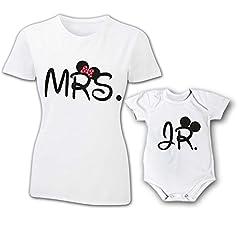 Idea Regalo - Coppia T-Shirt e Bodino Magliette Mamma E Figlio / Figlia Idea Regalo Festa Della Mamma