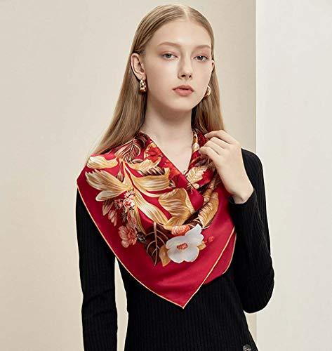 ZWQ Silk Scarf Female 90cm Square Headscarf weichen Schal Frauen Schals Büro Damen Schalldämpfer Foulard Strand Bandanna Hijab,B