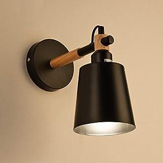 GZ Nordic Holzbearbeitung Lampen Moderne Einfache Kreative Schlafzimmer Japanischen Nachttischlampe Balkon Gang Echtholz Wandleuchte,Schwarz