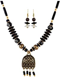 Arittra Blue\Red\Black\Turquoise Golden Pendant With Red,Golden Beads Necklace Set With Earrings For Women And...