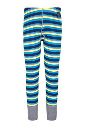 Mountain Warehouse Merino Kids Thermal Base Layer Trousers - Striped Leggings, Breathable, Lightweight Bottoms, Antibacterial - Cool Pants for Camping in Winter