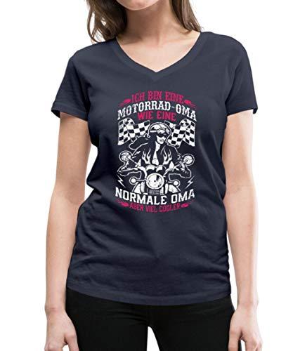 Spreadshirt Motorrad Fahrende Oma Viel Cooler Frauen Bio-T-Shirt mit V-Ausschnitt von Stanley & Stella, M, Navy
