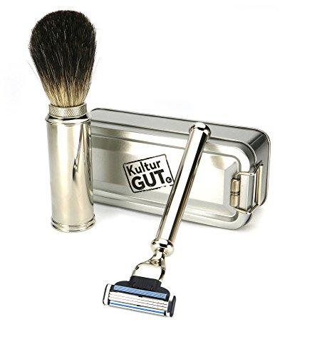 Herren Bartpflege Set - praktisches Reise - Rasier - Set bestehend aus echt Dachshaar Rasierpinsel Golddachs + Nass - Rasierer für Mach 3 Klingen, Männer Pflege, Geschenk - Idee in Metall - Klappbox