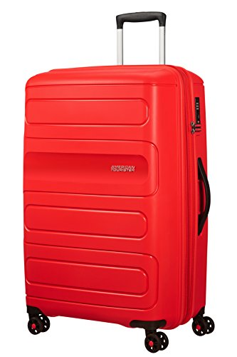 American Tourister Sunside Spinner 77 Espandibile, 4.5 KG, 106/118L, Rosso (Sunset Red)