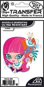 PW International - Transfer thermocollant Pink manga girl 9,5 x 14,5 cm, ultra résistant,
