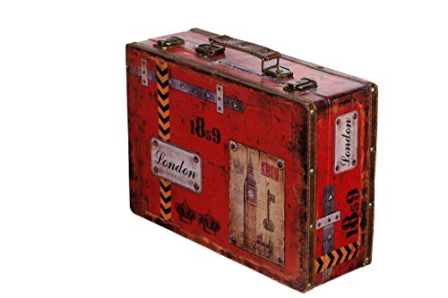 Truhe Kiste SJ 15369 Koffer , Kofferset , Holztruhe mit Leder bezogen im Vintage Look, Schatzkiste,Kiste, Piratenkiste, Kleinmöbel, Mit Metallbeschlägen, Antikoptik, Holz, verschieden Größen, Maritim, Deko, Hochwertig, Kolonialtruhe, Kolonialstil, Holzbox, Truhe mit Ornamenten . (Größe XL London (36cm B x 25cm T x 12cm H )) (Vintage Holz Kiste)