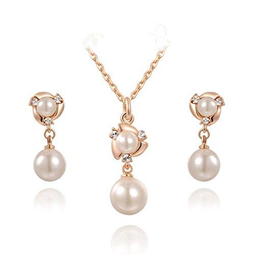 GEORGE SMITH Damen Ohrringe Perle Ohrstecker Ohrringe und Halskette Sätze 18k vergoldet Roségold Schmuck-Set (Perlen Schmuck (Gold Set Perlen)