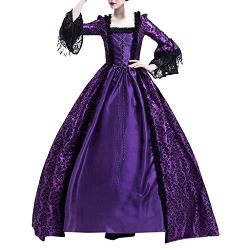 Lazzboy Frauen Retro Mittelalter Party Prinzessin Renaissance Cosplay Spitze Bodenlanges Kleid Langarm Viktorianischen Königin Kostüm Maxikleid(Lila,S)