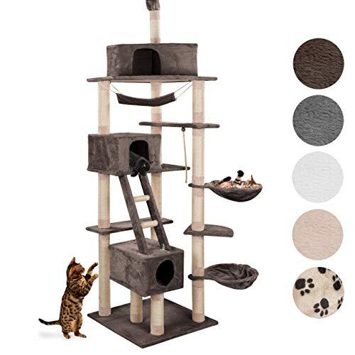 Happypet® Kratzbaum für Katzen deckenhoch CAT015-4 höhenverstellbar 230-260 cm hoch, großer Kletterbaum Katzenbaum, Dicke Säulen mit Sisal ca. 8 cm, Haus, Liegemulde, Treppe, Spielseil, BRAUN