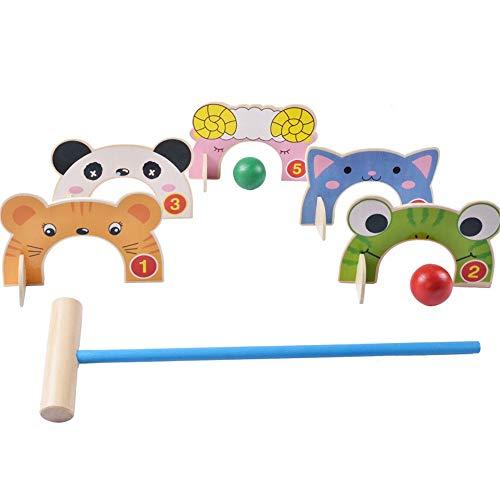 BGROEST-SP Golf für Kinder Türen Karikatur Tier Croquet Toy Spiel Holz Golf Spielzeug Lustige Outdoor Familie Lernspiele Für Kinder Indoor-Outdoor-Spiele für Kinder (Farbe, Größe : 45.5 * 13 * 5cm)
