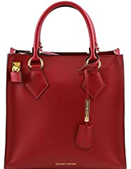 Tuscany Leather - Fortuna - Sac à main vertical en cuir Ruga - Rouge