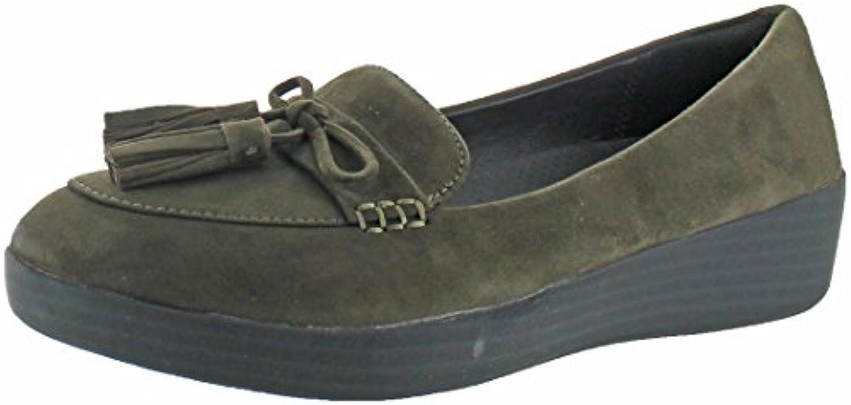 Fitflop Tassel Bow Sneakerloafer - Mocasin de mujer, color verde
