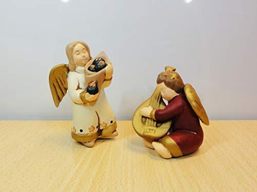 Due Angioletti in Ceramica Artistica Wald. 2 Statuine Angeli: Angelo Con Fiori e Angelo Che Suona. Made in Italy.