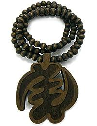 Collier en bois de ton brun à pendentif de symbôle africain NYAME YE OHENE Dieu est Roi, L.91,4 cm WJ129BRN