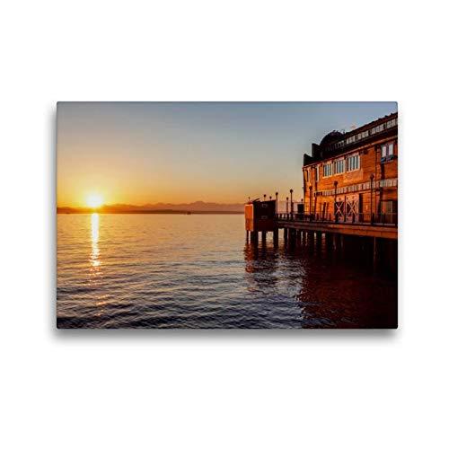Calvendo Premium Textil-Leinwand 45 cm x 30 cm quer, Pier des Seattle Aquariums   Wandbild, Bild auf Keilrahmen, Fertigbild auf echter Leinwand, Leinwanddruck Orte Orte - Aquarium Holz-thomas