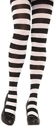 Leg Avenue Damen Strumpfhose 70 DEN Schwarz Weiß geringelt dicke Streifen Einheitsgröße 36 bis 40